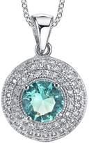 Minxwinx 925 Sterling Silver Aquamarine CZ pendant Necklace set with Pave cubic zirconias