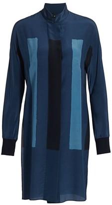 Akris Costellazione Long Silk Tunic Blouse