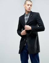 Farah Long Wool Blend Buttoned Jacket