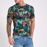 River Island Mens Blue muscle fit tropical print T-shirt