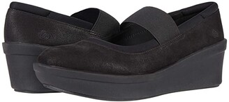 Clarks Step Rose Ivy (Black Textile) Women's Wedge Shoes