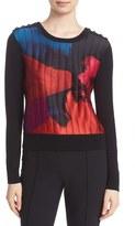 Diane von Furstenberg Women's 'Blaike' Button Shoulder Print Front Crewneck Sweater