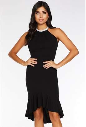 Quiz Black Diamante Trim Midi Dress