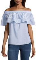 A.N.A a.n.a Embroidered Off The Shoulder Ruffle Blouse