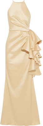 Badgley Mischka Bow-detailed Ruched Faille Gown