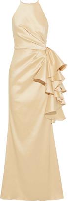 Badgley Mischka Pleated Ruffled Faille Gown