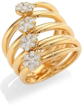 Hueb Diamond Flower 18K Gold & Diamond Statement Ring
