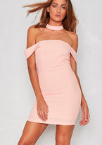 Missy Empire Liza Pink Bardot Mini Dress with Choker