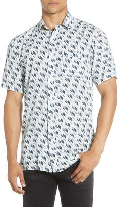 Selected Slim Fit Print Short Sleeve Button-Up Shirt