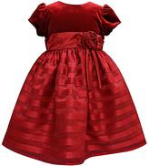 Jayne Copeland Red Shadow Stripe Velvet A-Line Dress - Toddler & Girls