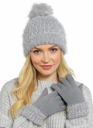Online Shopping Arcade Ladies Knitted Hat & Gloves Winter Accessory Set Bobble Pom Woollen Silver Grey (Grey)