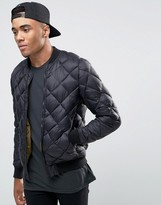 Pull&Bear Quilted Bomber Jacket In Black