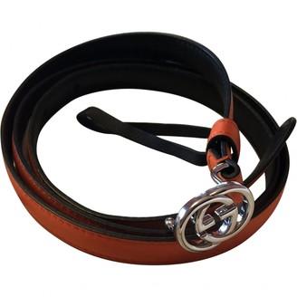 Gucci Interlocking Buckle Orange Leather Belts