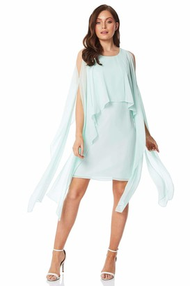 Roman Originals Women Chiffon Sparkle Embellished Cuff Dress - Ladies Could Shoulder Autumn Winter Evening Party Round Neck Overlay Style Long Sleeve Dresses - Blue Royal - Size 10