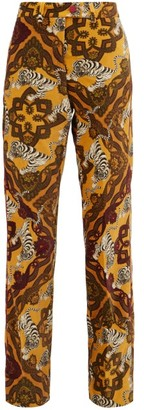 F.R.S For Restless Sleepers Zelos Tiger-print Cotton-velvet Trousers - Yellow Multi