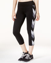 Jessica Simpson The Warm Up Printed Mesh-Trim Cropped Leggings