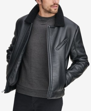 Andrew Marc Men's Maxton Asymmetrical Moto Jacket with Faux-Shearling Collar