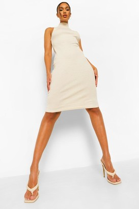 boohoo Rib High Neck Racer Neck Midi Dress
