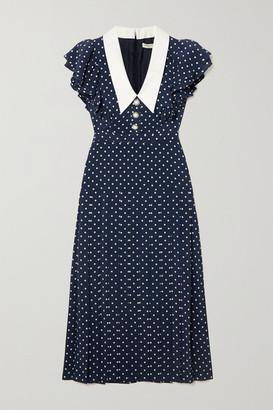 Alessandra Rich Button-embellished Ruffled Polka-dot Silk Midi Dress - Navy