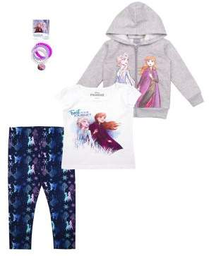 Nannette Little Girl's Frozen 2 Elsa & Anna 3-Piece Hooded Jacket, Tee, and Leggings Set with Hair Ties