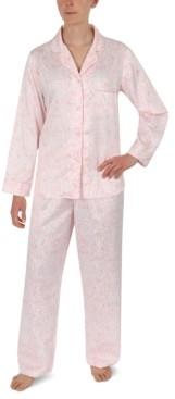 Miss Elaine Printed Brushed Satin Pajama Set