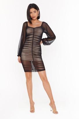 Nasty Gal Womens A Little Mesh Conversation Ruched Mini Dress - Black