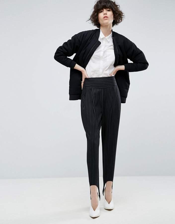Asos Pinstripe Trouser With Stirrup
