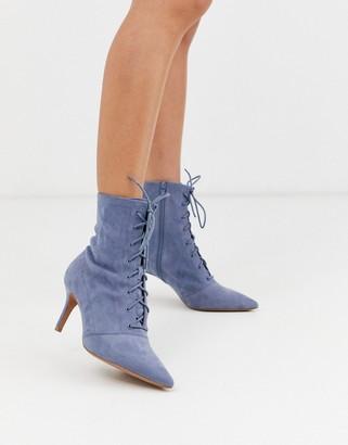 Asos Design DESIGN Respect lace up kitten heel boots in gray