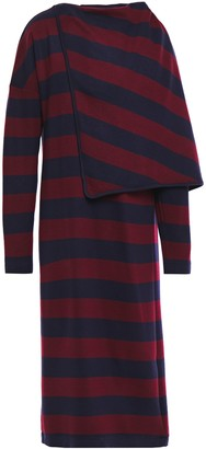 Chalayan Draped Striped Jersey Midi Dress