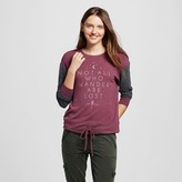 Well Worn Women's Not All Who Wander Are Lost Super Soft Drawstring Pullover Burgundy - Well Worn (Juniors')