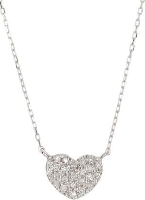 Ron Hami 14K White Gold Pave Diamond Petite Heart Pendant Necklace - 0.08 ctw