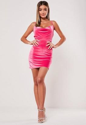 Missguided Neon Pink Velvet Strappy Cowl Mini Dress
