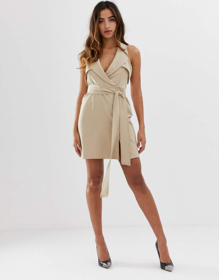 Asos Design DESIGN mini belted trench dress in soft crepe