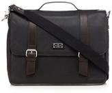 Jeff Banks Designer Black Leather Laptop Briefcase