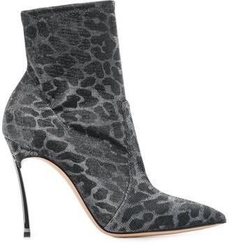 Casadei Leopard Print Stiletto Boots