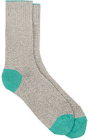 Barneys New York Men's Tipped-Cuff Stockinette-Stitched Mid-Calf Socks-GREY, LIGHT GREEN