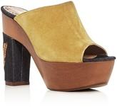 Alexa Wagner Aladin Suede and Denim High Heel Platform Silde Sandals