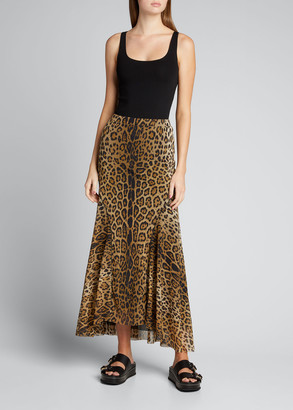 Fuzzi Leopard-Print Tulle Maxi kirt