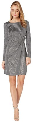 BB Dakota What's Your Shine Metallic Long Sleeve Dress (Gunmetal) Women's Dress