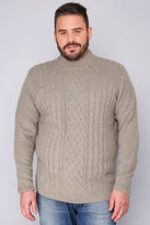 Yours Clothing BadRhino Oatmeal Crew Neck Cable Knit Sweater