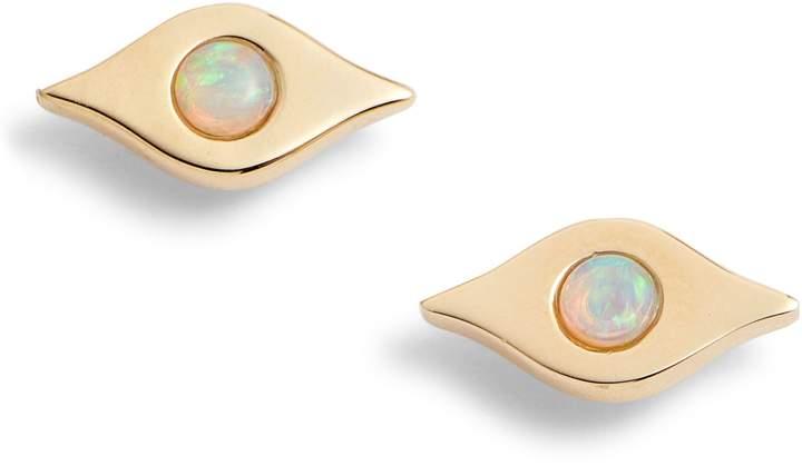 Ef Collection Evil Eye Opal Stud Earrings