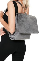 Missguided Croc Embossed Velvet Backpack - Grey