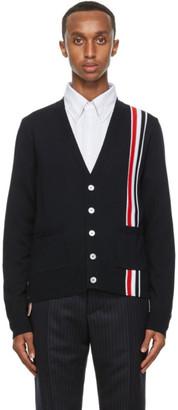 Thom Browne Navy Wool Tricolor Stripe Cardigan