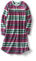 Lands' End Toddler Girls Fleece Shirred Gown-Glitter Heart