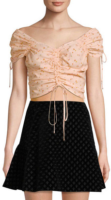 Jill Stuart Ruched Tie Crop Top