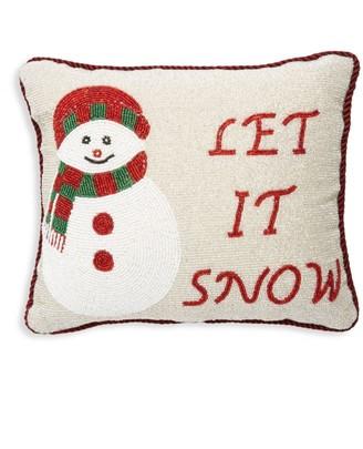 Sudha Pennathur Let It Snow Beaded Pillow