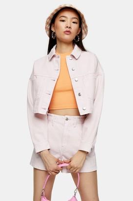 Topshop Womens Pink Denim Cropped Jacket - Pink