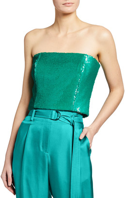 Sally LaPointe Sequined Strapless Top