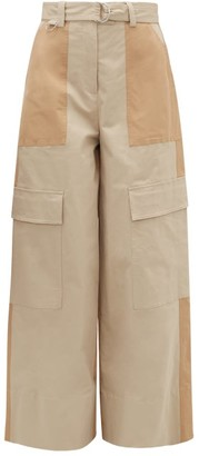 MSGM Panelled Stretch-cotton Wide-leg Trousers - Light Beige