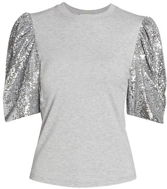 Cinq à Sept Kendra Sequin Puff-Sleeve T-Shirt